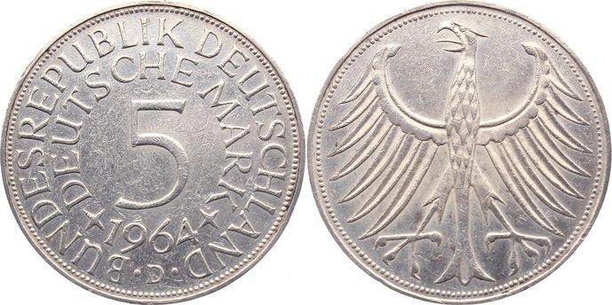 5 Mark 1964 D Kursmünzen sehr schön