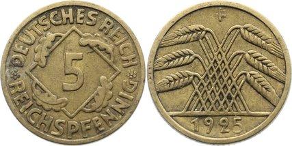 5 Reichspfennig 1925 F Weimarer Republik Kursmünzen 1918-1933. sehr schön
