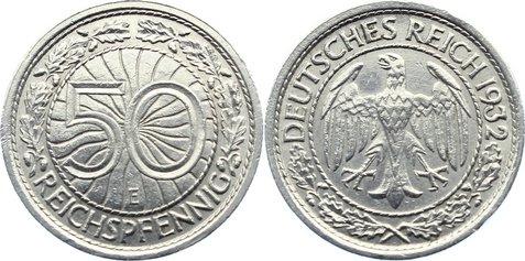 50 Reichspfennig 1932 E Weimarer Republik Kursmünzen 1918-1933. sehr schön - vorzüglich