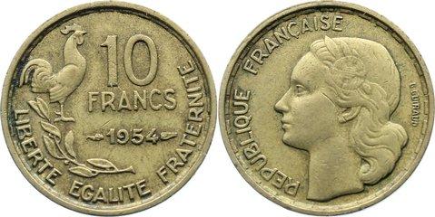 10 Francs 1954 Frankreich Vierte Republik 1947-1959. kl. Kratzer, sehr schön