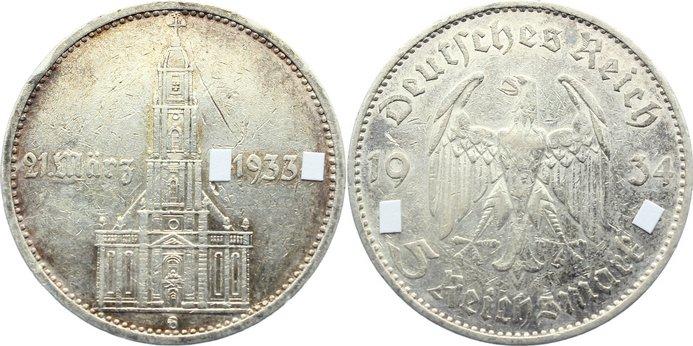 5 Reichsmark 1934 G Drittes Reich Kursmünzen 1933-1945. Randfehler, Kratzer, sehr schön