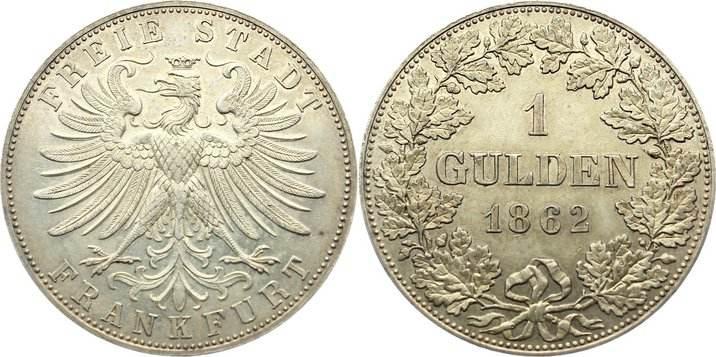 Gulden 1862 Frankfurt, Stadt seltener Jahrgang, feine Patina, fast vorzüglich