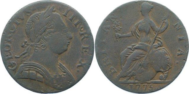 Cu Halfpenny 1775 Großbritannien George III. 1760-1820. schön - sehr schön