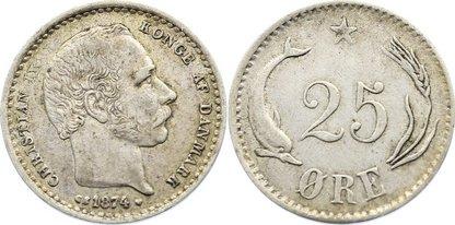 25 Öre 1 1874 CS Dänemark Christian IX. 1863-1906. sehr schön