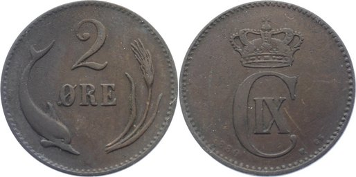 Cu 2 Öre 1 1880 CS Dänemark Christian IX. 1863-1906. fast sehr schön