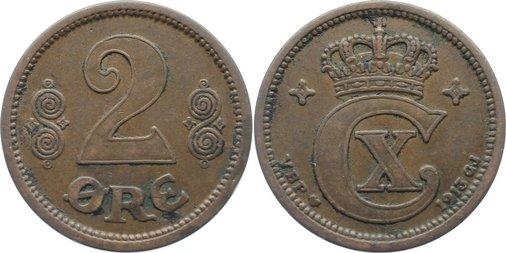 Cu 2 Öre 1 1913 Dänemark Christian X. 1912-1947. kl. Belagreste, sehr schön
