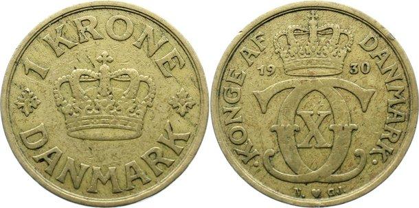 1 Krone 1930 N Dänemark Christian X. 1912-1947. kl. Randfehler, sehr schön