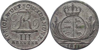 3 Kreuzer 1811 Württemberg Friedrich I. 1806-1816. sehr schön