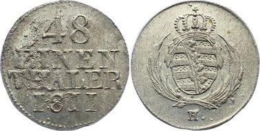 1/48 Taler 1811 H Sachsen-Albertinische Linie Friedrich August I. 1806-1827. Avers vov rauhem Stempel, prägefrisch