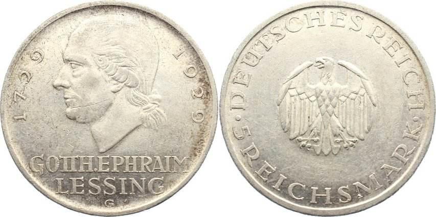 5 Reichsmark 1929 G Weimarer Republik Gedenkmünzen 1918-1933. kl. Kratzer, sehr schön +