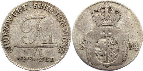 6 Kreuzer 1804 Württemberg Friedrich II. 1797-1805. fast sehr schön