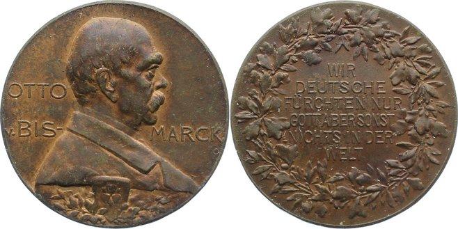 Bronzemedaille Personenmedaillen Bismarck, Otto von, Deutscher Reichskanzler *1815, +1898. fast vorzüglich