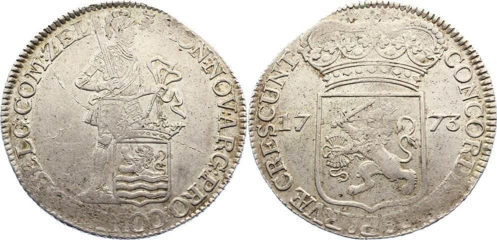 Silberdukat 1773 Niederlande-Zeeland, Provinz Zainende, Prägeschwäche, sehr schön