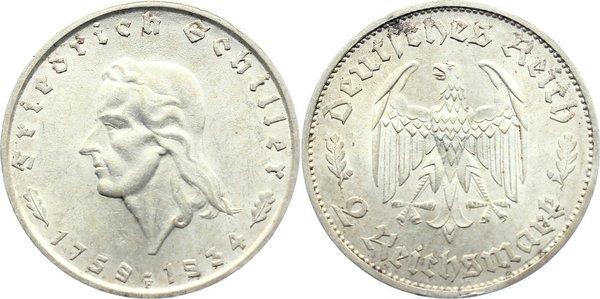 2 Reichsmark 1934 F Drittes Reich Gedenkmünzen 1933-1945. kl. Randfehler, vorzüglich