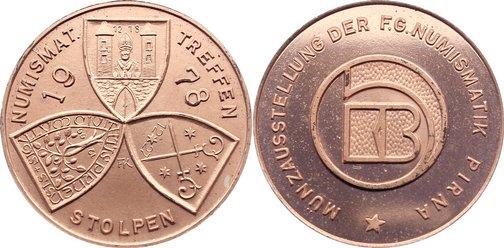 Medaille (Kupfer) 1978 DDR Stolpen 1949-1989. prägefrisch