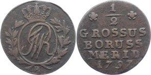 Cu 1/2 Groschen 1797 B Brandenburg-Preußen Friedrich Wilhelm II. 1786-1797. sehr schön