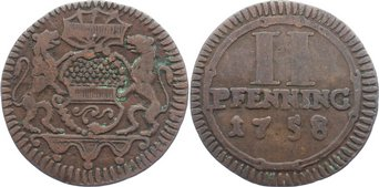 Cu 2 Pfennig 1758 Münster, Stadt fast sehr schön