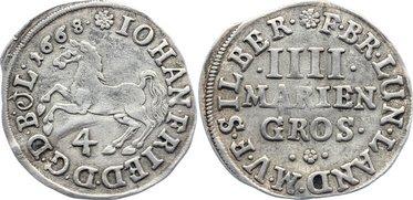 4 Mariengroschen 1668 Braunschweig-Calenberg-Hannover, ab 1692 Kftm. Han Johann Friedrich 1665-1679. leicht gewellt, sehr schön