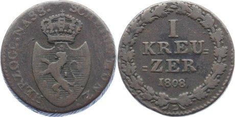 Cu Dickkreuzer 1808 L Nassau Friedrich August und Friedrich Wilhelm 1808-1816. schön - sehr schön