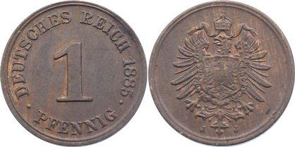 1 Pfennig 1885 J Kleinmünzen fast vorzüglich