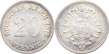 20 Pfennig 1876 G Kleinmünzen fast Stempelglanz