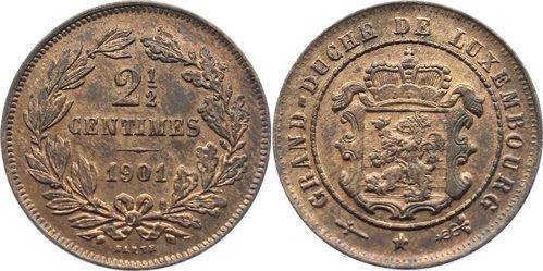 Cu 2 1/2 Centimes 1901 Luxemburg Adolph 1890-1905. vorzüglich