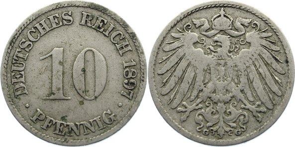 10 Pfennig 1897 G Kleinmünzen fast sehr schön