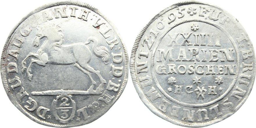 24 Mariengroschen 1695 Braunschweig-Wolfenbüttel Rudolf August und Anton Ulrich 1685-1704. kl. Prägeschwäche, vorzüglich