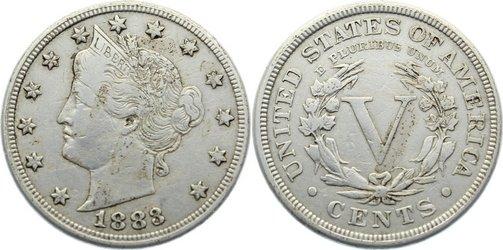 5 Cents 1883 USA fast sehr schön