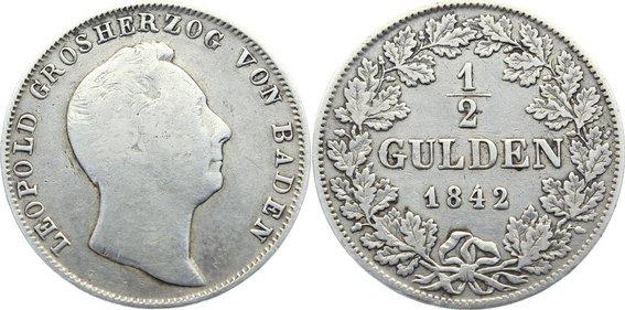 1/2 Gulden 1842 Baden-Durlach Leopold 1830-1852. fast sehr schön
