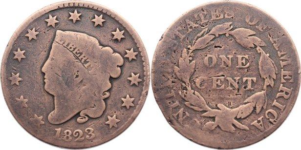 Cu 1 Cent 1823 USA gereinigt, gering erhalten