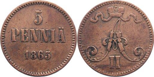 Cu 5 Penniä 1 1865 Finnland Alexander II. von Rußland 1855-1881. fast sehr schön