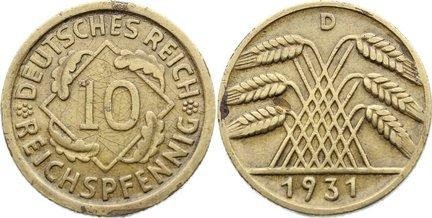 10 Reichspfennig 1931 D Weimarer Republik Kursmünzen 1918-1933. zaponiert, sehr schön