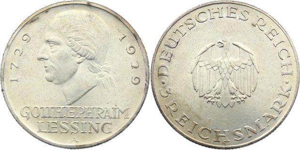 3 Reichsmark 1929 A Weimarer Republik Gedenkmünzen 1918-1933. kl. Randfehler, vorzüglich - Stempelglanz