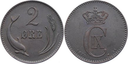 Cu 2 Öre 1 1875 CS Dänemark Christian IX. 1863-1906. sehr schön - vorzüglich