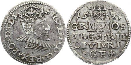 3 Gröscher 1 1591 Riga, Stadt Sigismund III. 1587-1632. sehr schön