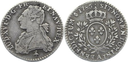 1/10 Écu 1 1786 A Frankreich Ludwig XVI. 1774-1793. sehr schön