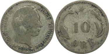10 Öre 1 1884 CS Dänemark Christian IX. 1863-1906. selten, gering erhalten
