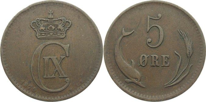 Cu 5 Öre 1 1875 CS Dänemark Christian IX. 1863-1906. fast sehr schön