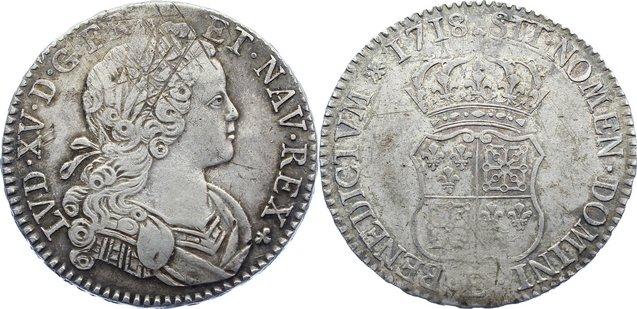 Écu de Navarre 1 1718 E Frankreich Ludwig XV. 1715-1774. justiert, sehr schön +