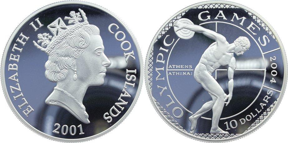 10 Dollars 2001 Cook Island Elisabeth II. seit 1952. Polierte Platte