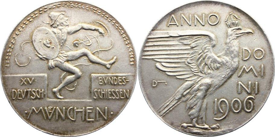 Silbermedaille 1906 Schützenmedaillen München fast vorzüglich