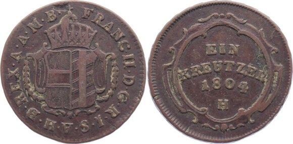 Cu Kreuzer 1804 H Haus Habsburg Franz II. (I.) 1792-1835. sehr schön