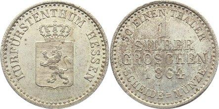 Silbergroschen 1864 Hessen-Kassel Friedrich Wilhelm I. 1847-1866. min.Schrötlingsfehler, vorzüglich - Stempelglanz