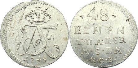 1/48 Taler 1749 Mecklenburg-Strelitz Adolph Friedrich III. 1708-1752. vorzüglich - Stempelglanz