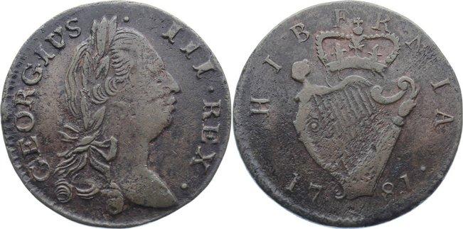 Cu Halfpenny 1781 Irland George III. 1760-1820. sehr schön