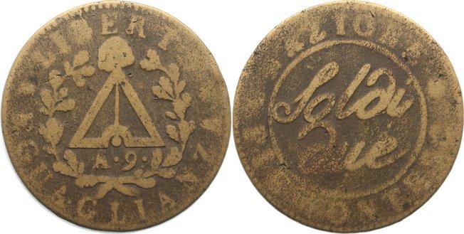 2 Soldi 1800 Italien-Subalpine Republik gering erhalten