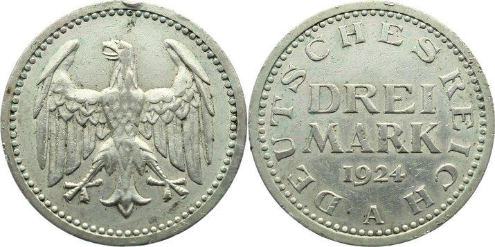 3 Mark 1924 A Weimarer Republik Kursmünzen 1918-1933. Randfehler, sehr schön