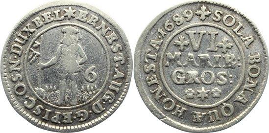 6 Mariengroschen 1689 Braunschweig-Calenberg-Hannover, ab 1692 Kftm. Han Ernst August 1679-1698. sehr schön