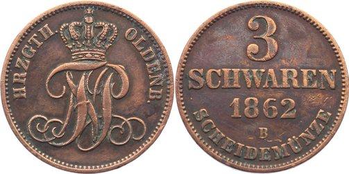 Cu 3 Schwaren 1862 B Oldenburg Nicolaus Friedrich Peter 1853-1900. seltener Jahrgang, sehr schön